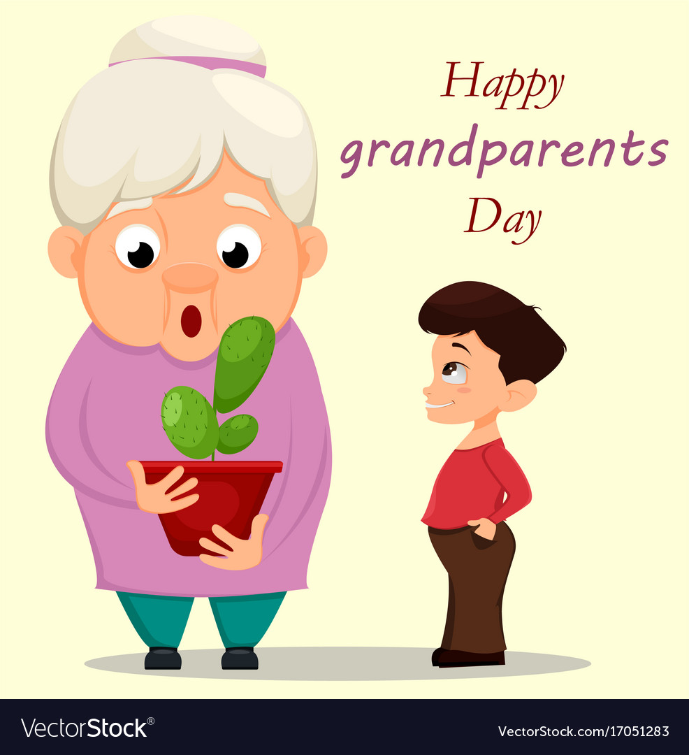 Grandparents day greeting card grandson giving a vector image m4hsunfo