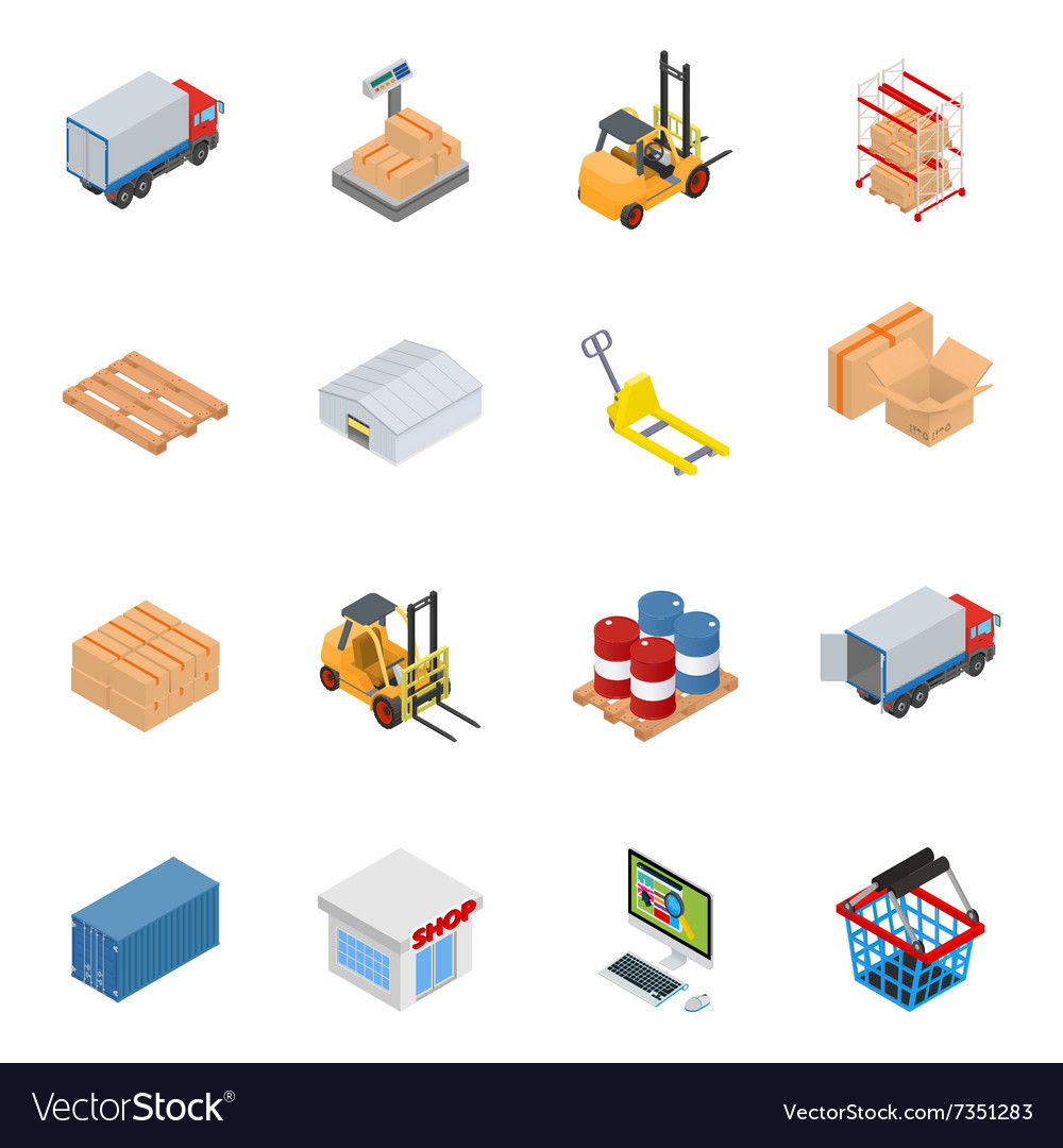 Isometric warehouse equipment vector image