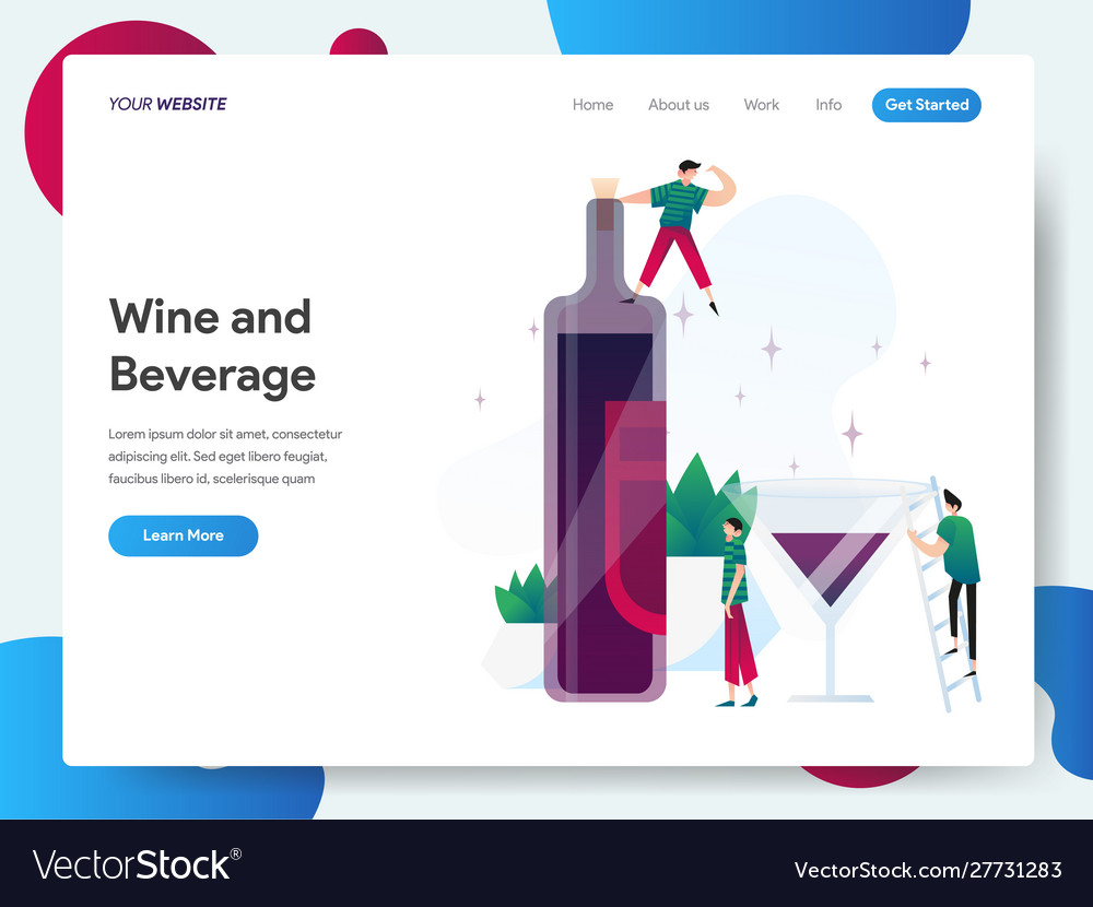Landing page template wine and beverage