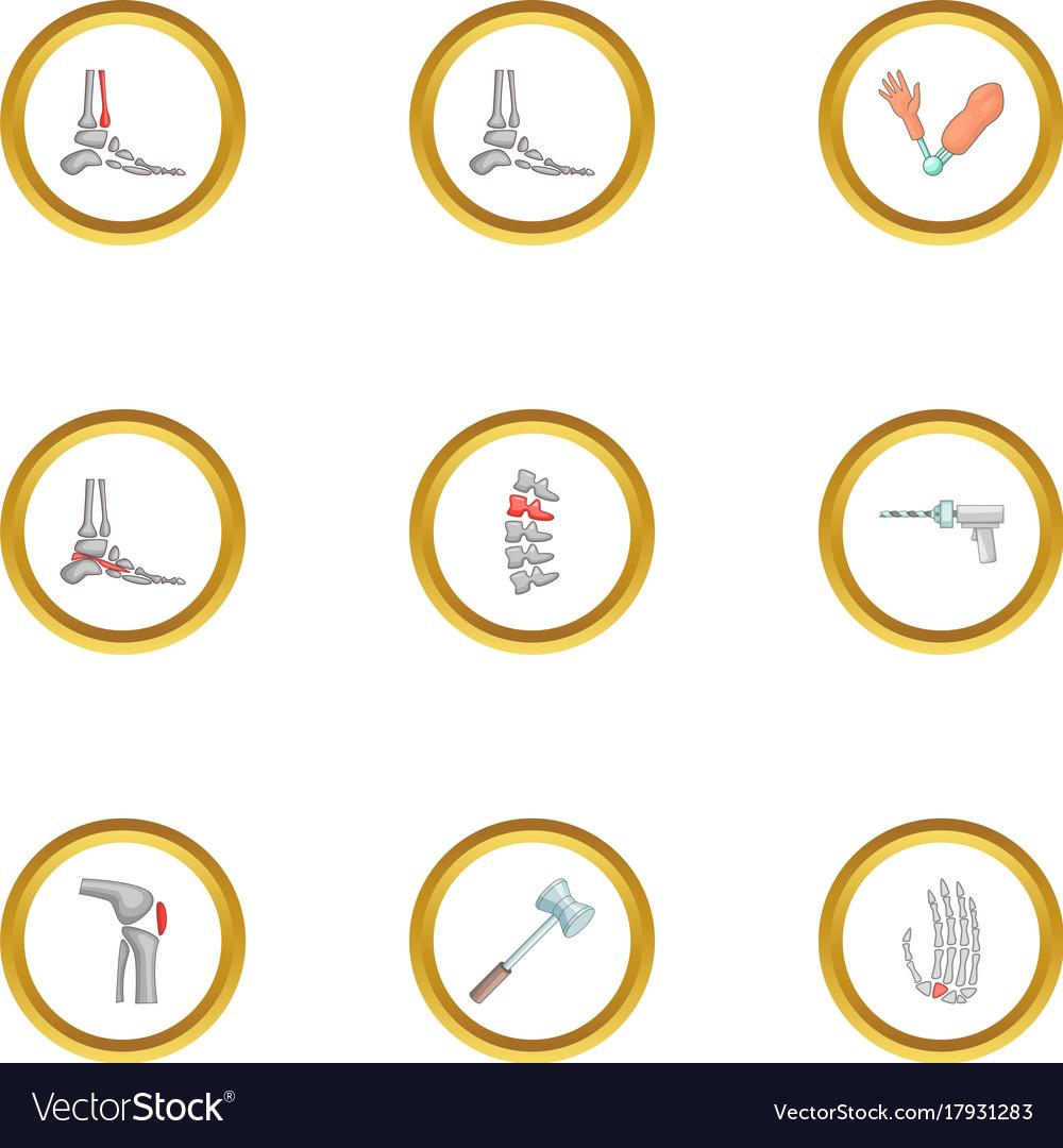 Orthopedic disease icons set cartoon style