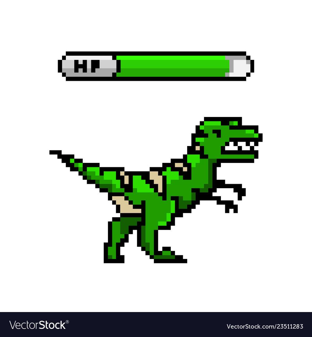 Pixel dinosaur art 8 bit objects retro game