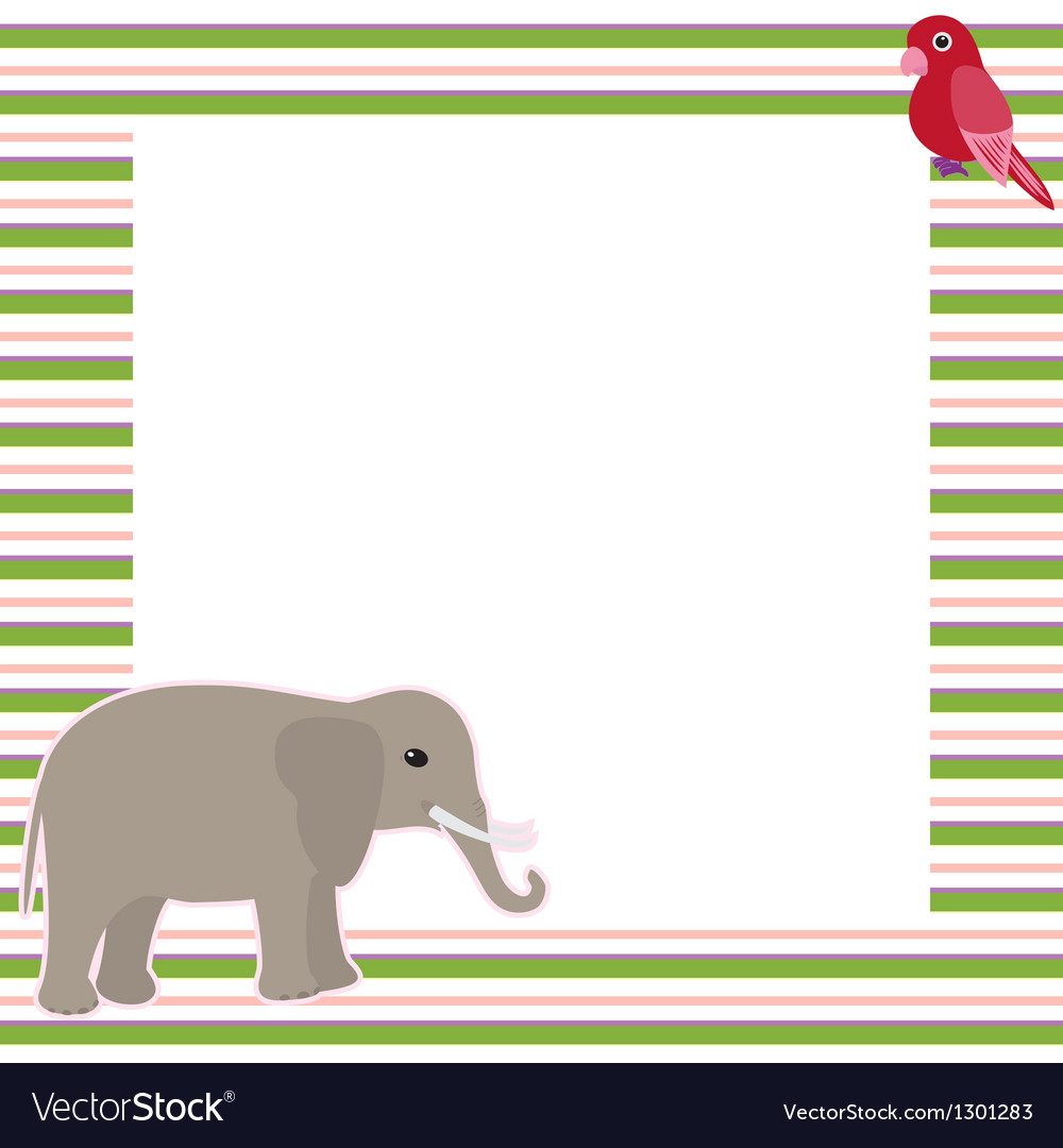 Stripy card with elephant and parrot