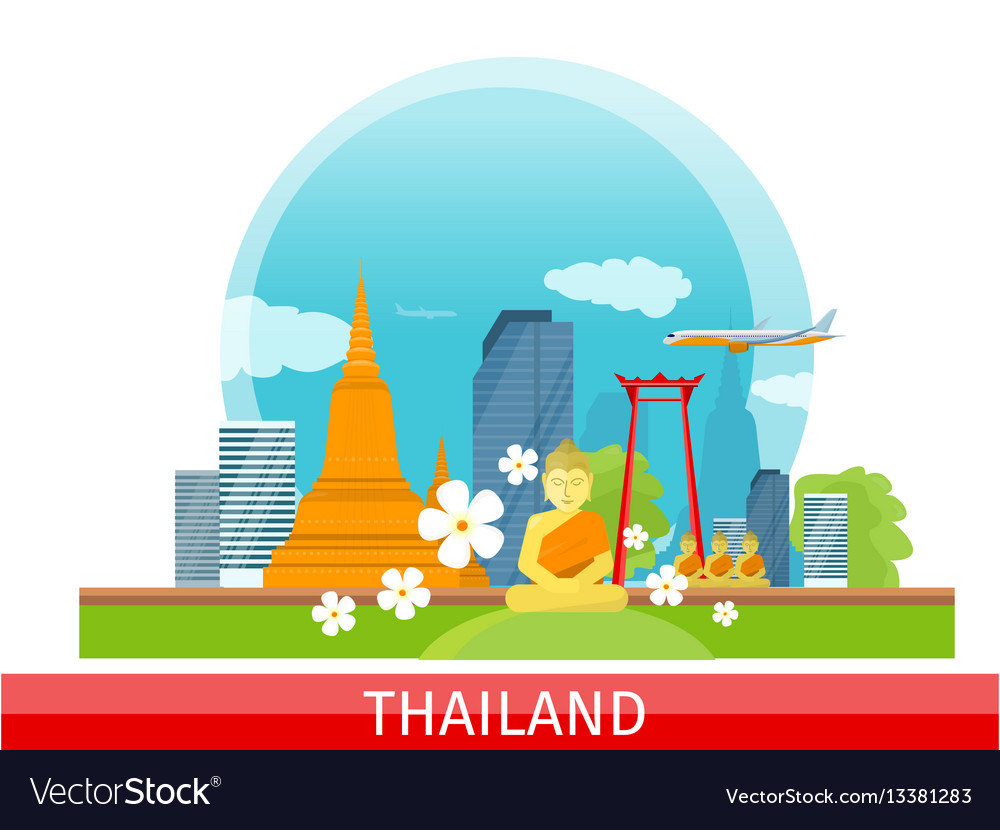 Thailand travelling banner thai landmarks