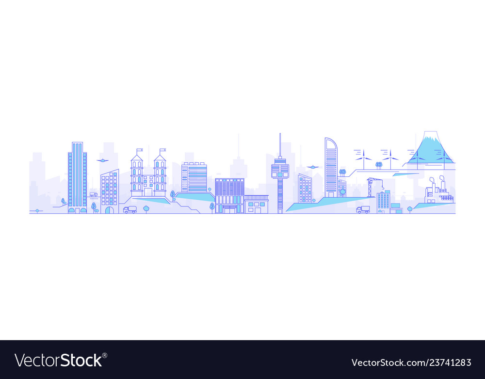 Thin line cityscape with skyscrapers line modern
