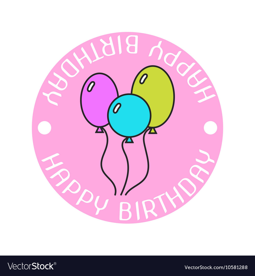 Badge colored sticker with balloons and
