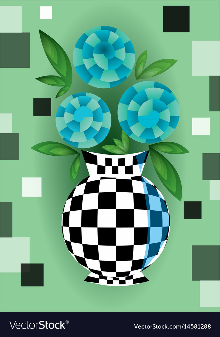 Cubist bouquet with blue flowers in checker