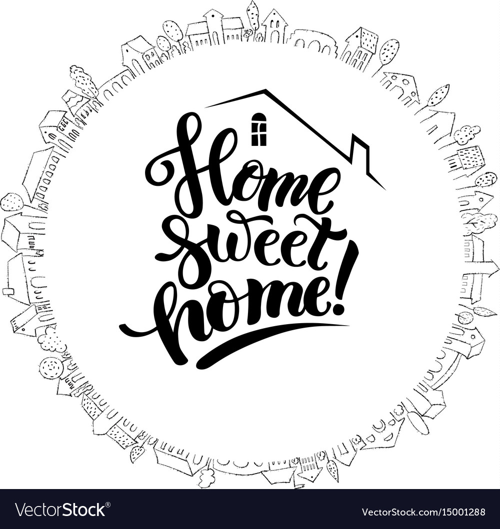 Cute house and modern lettering vector image