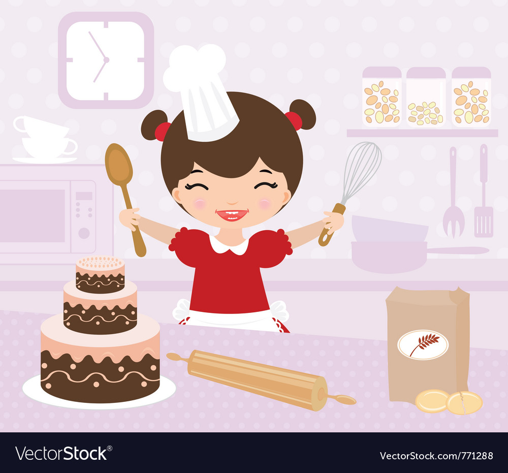 Cute little girl baking