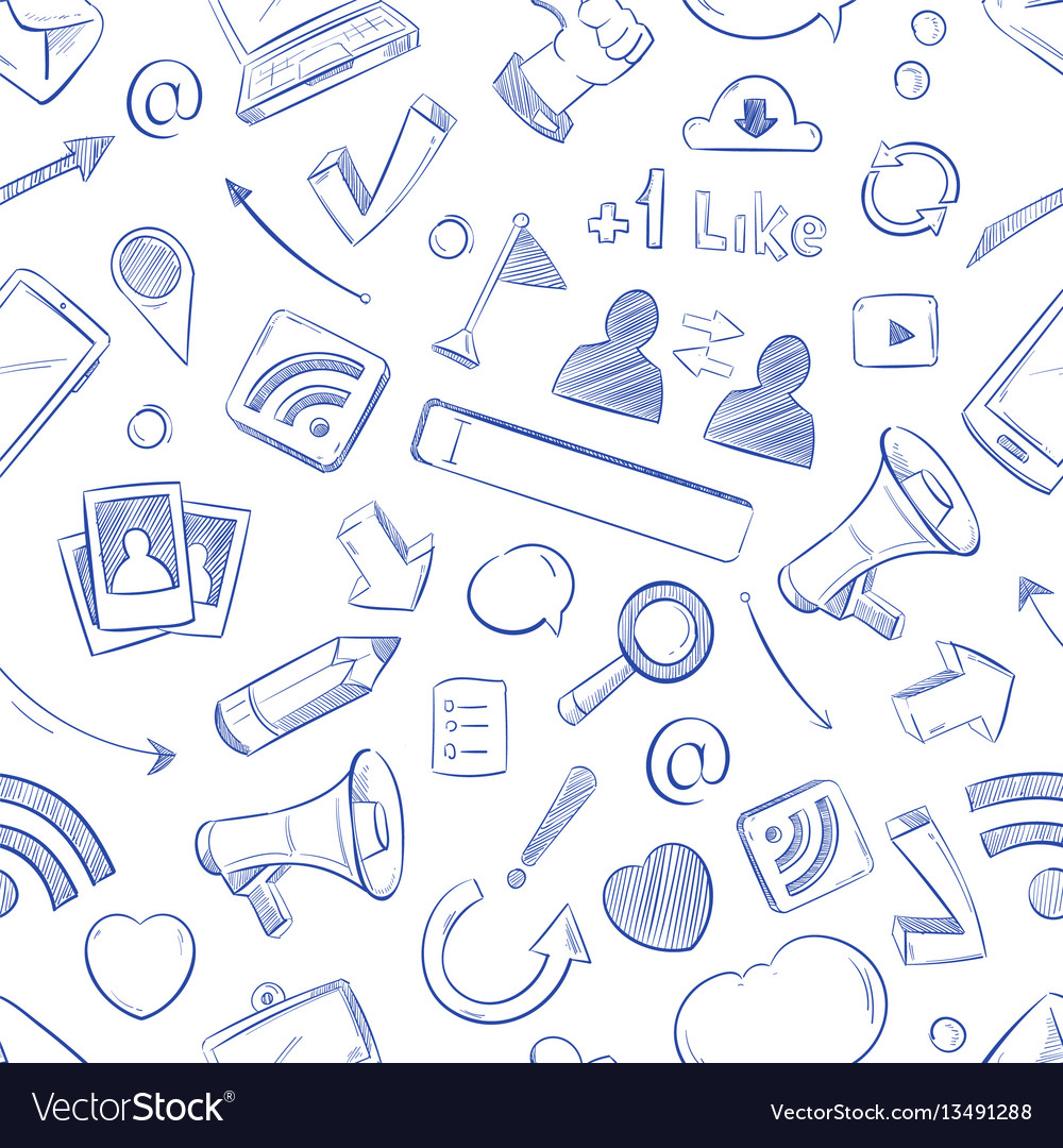 Doodle social media movie music news video vector image