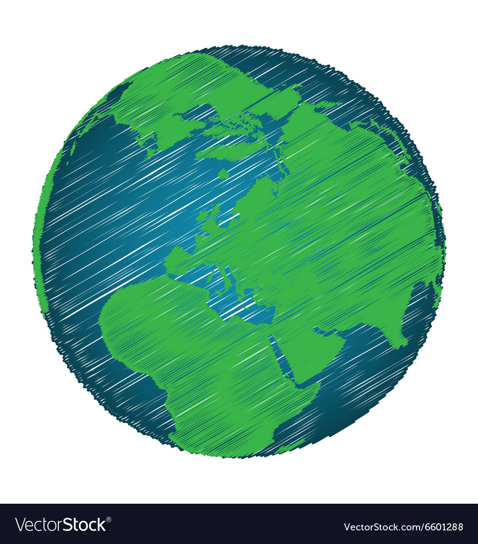 Earth Sketch Hand Draw Focus Europe Continent Vector Image