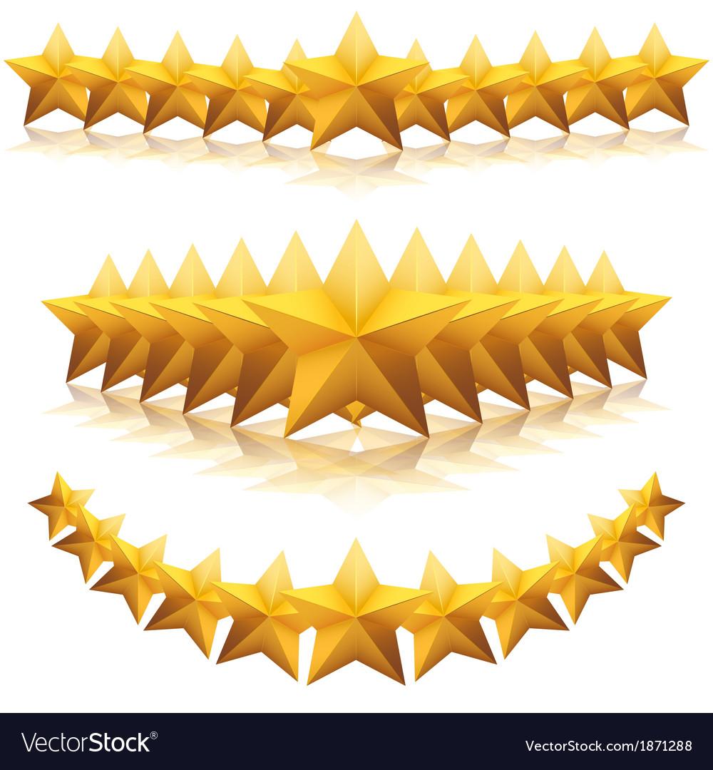 Gold five-pointed premium stars