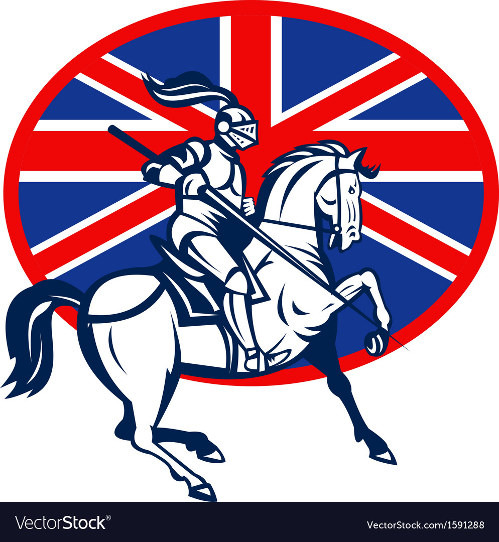Knight on horse with lance and British flag vector image
