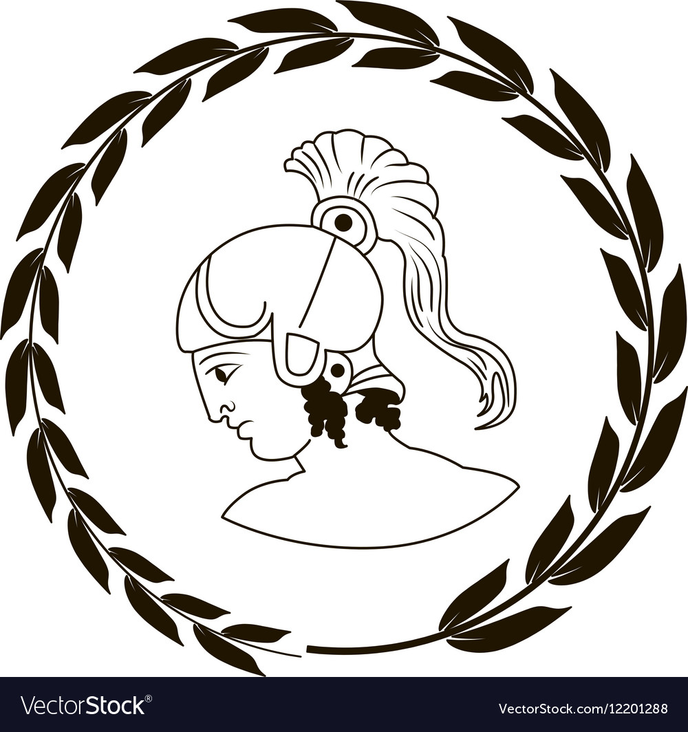 Logo with head of the ancient Greek warrior