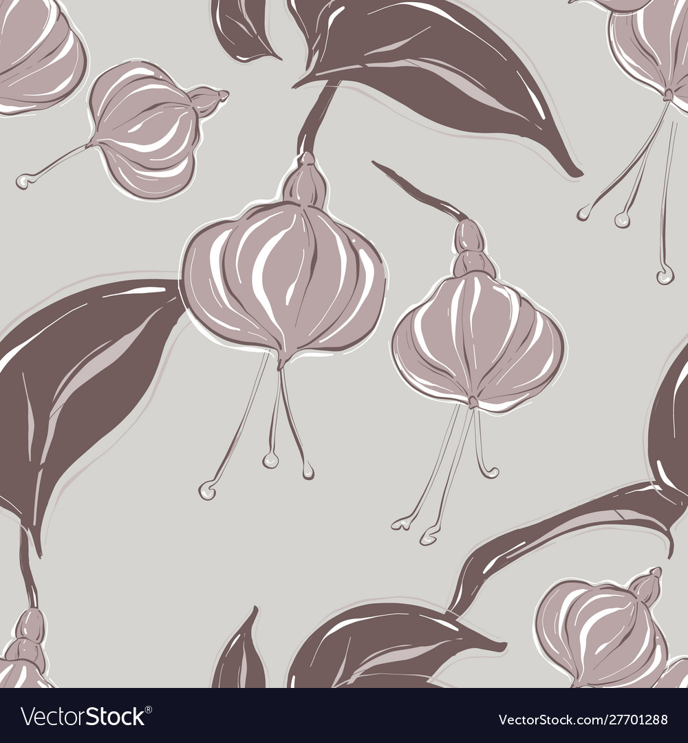 Seamless pastel grey floral pattern with foliage