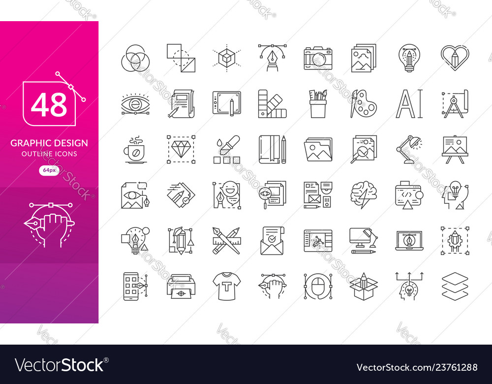 Set of thin line icons of graphic design
