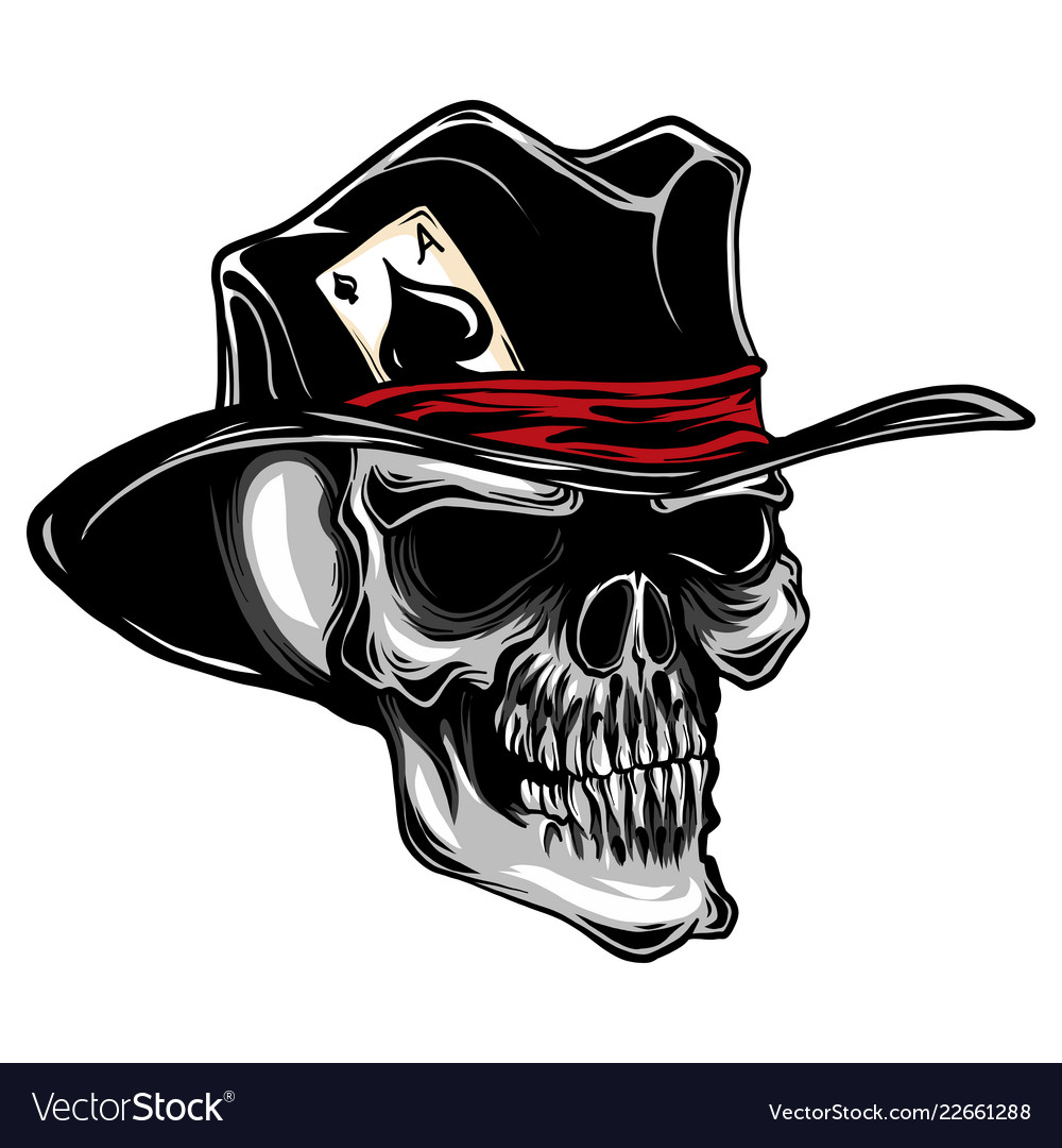 Skull with top hat and ace spades