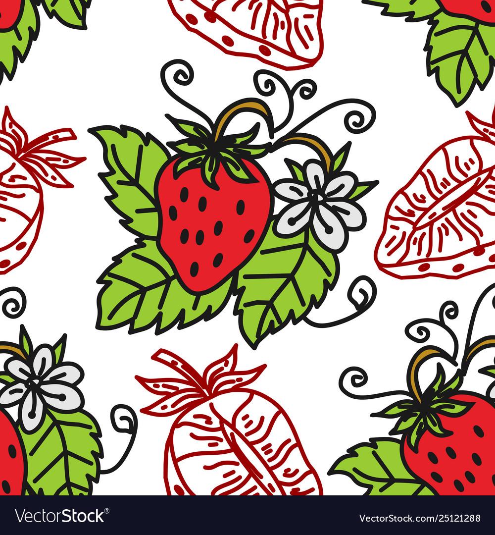 Strawberry fruit pattern seamless template