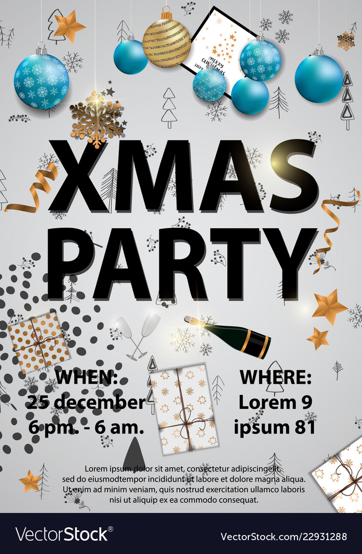 Xmas Party Invitation Card Designe With Christmas Vector Image