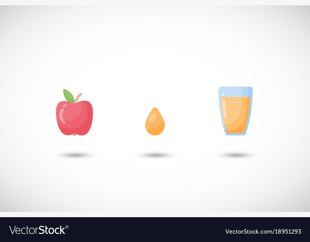 Apple juice flat icons set