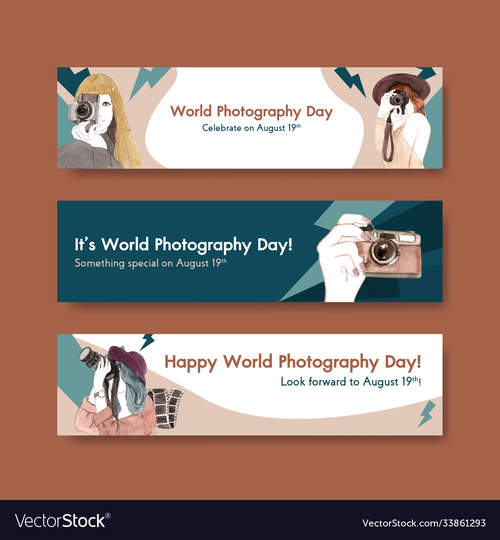 Banner template design with world photography day