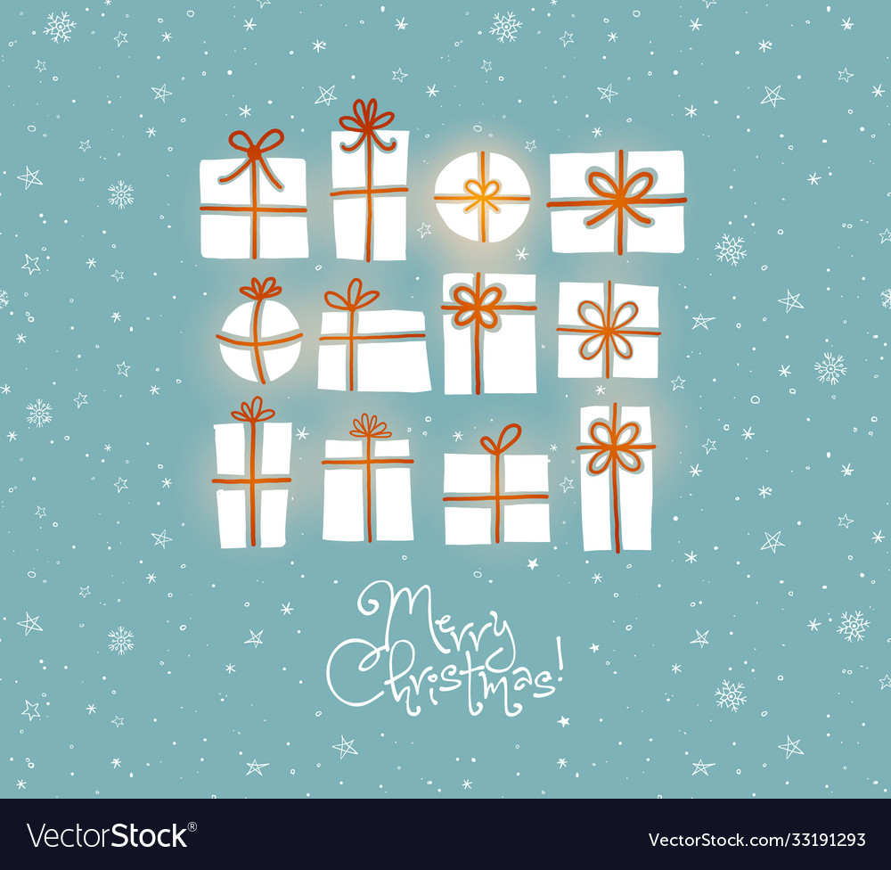 Christmas greeting card with gift boxes on blue