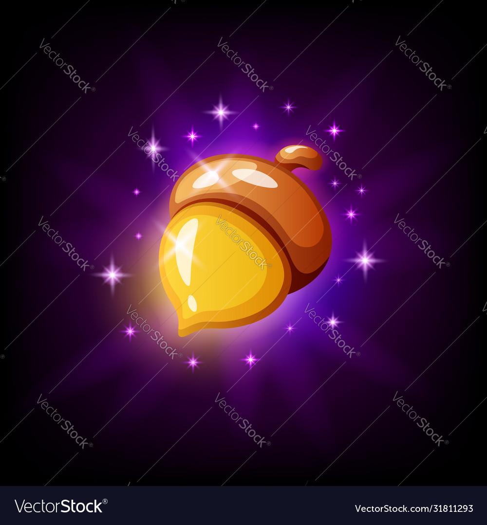 Golden acorn game icon on black background