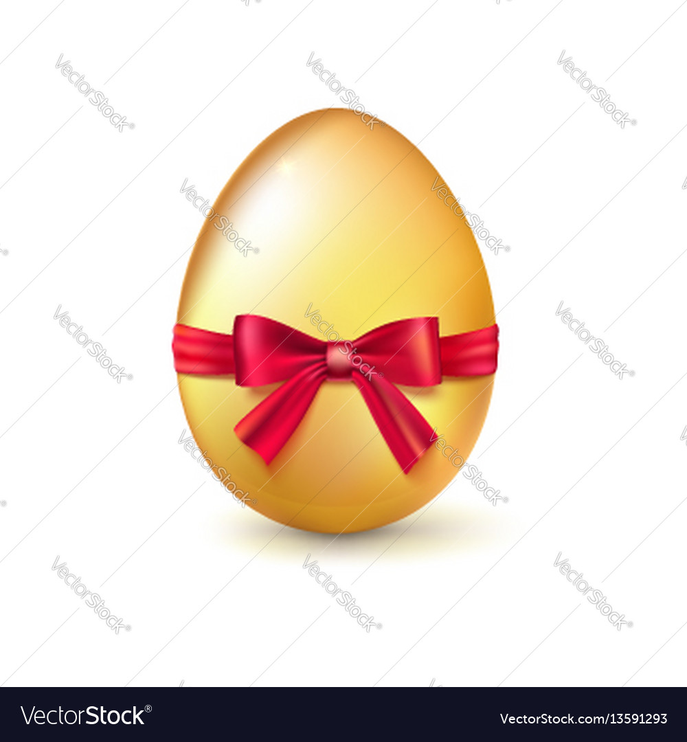Golden easter egg with red ribbon and bow