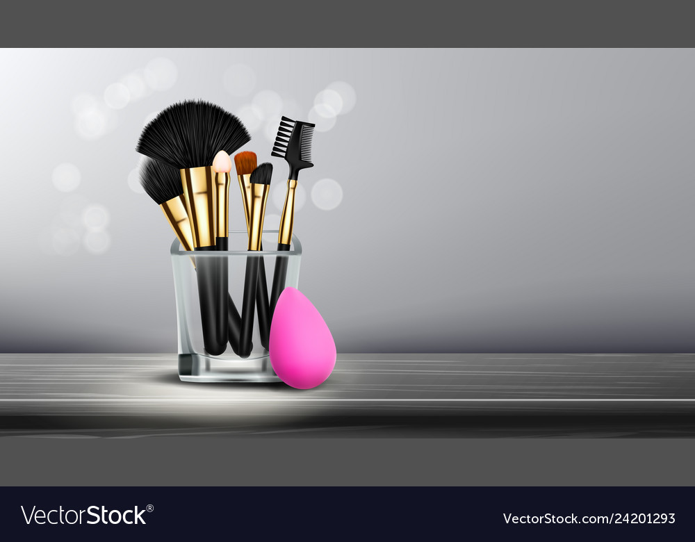 Makeup Brush Banner Cosmetic Background Royalty Free Vector