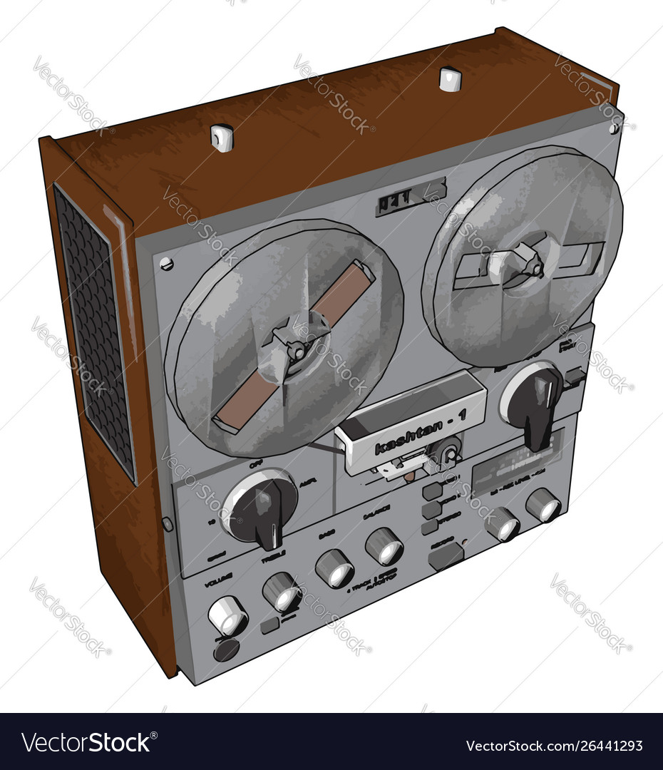 Old radio recorder on white background