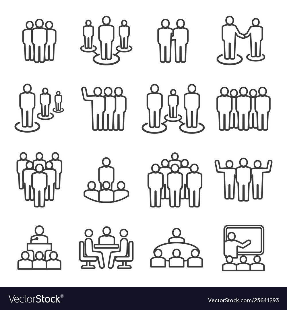People team line icon set