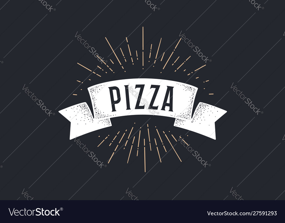 Ribbon pizza old school ribbon banner with text vector
