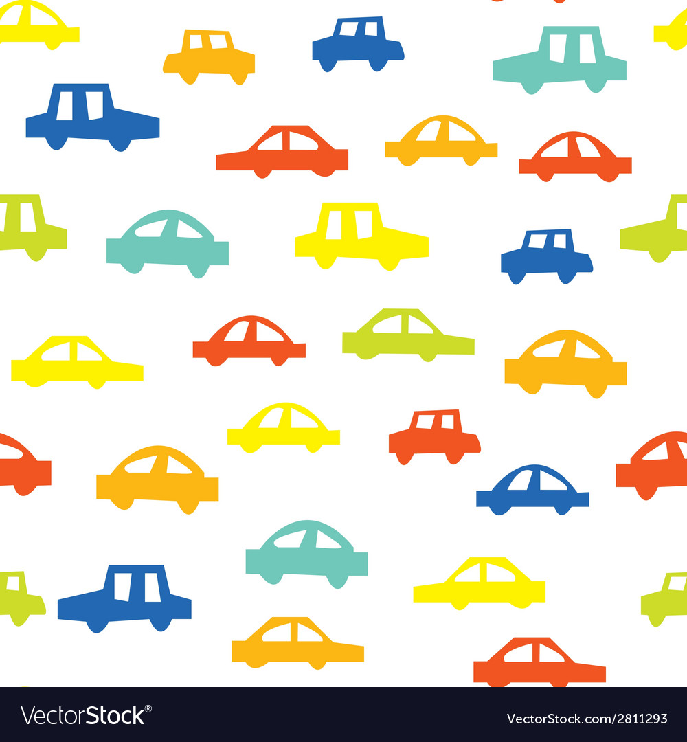 Seamless pattern with cars funny design