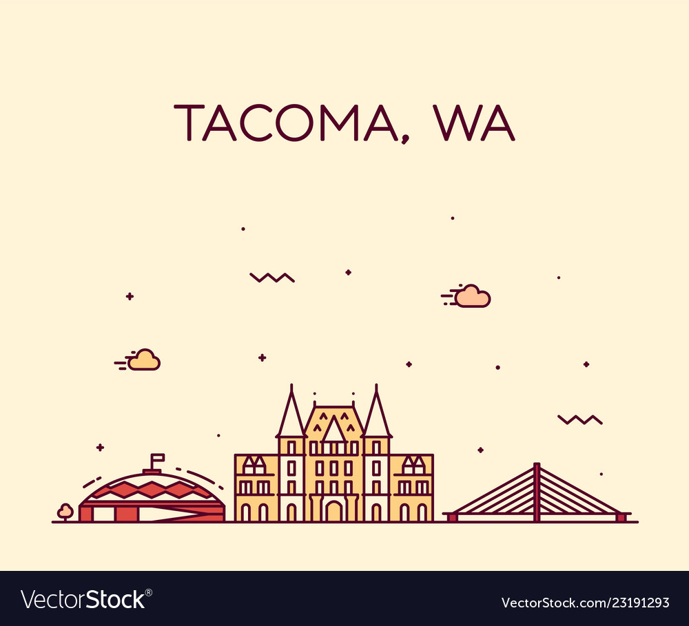 Tacoma skyline washington usa linear style