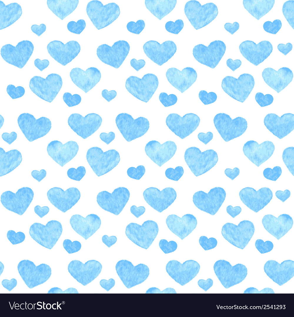 Watercolor romantic seamless pattern with hearts