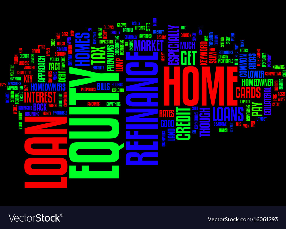 Z refinance home equity loan text background word vector image