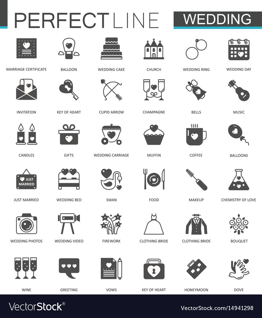 Black classic web wedding marriage icons set