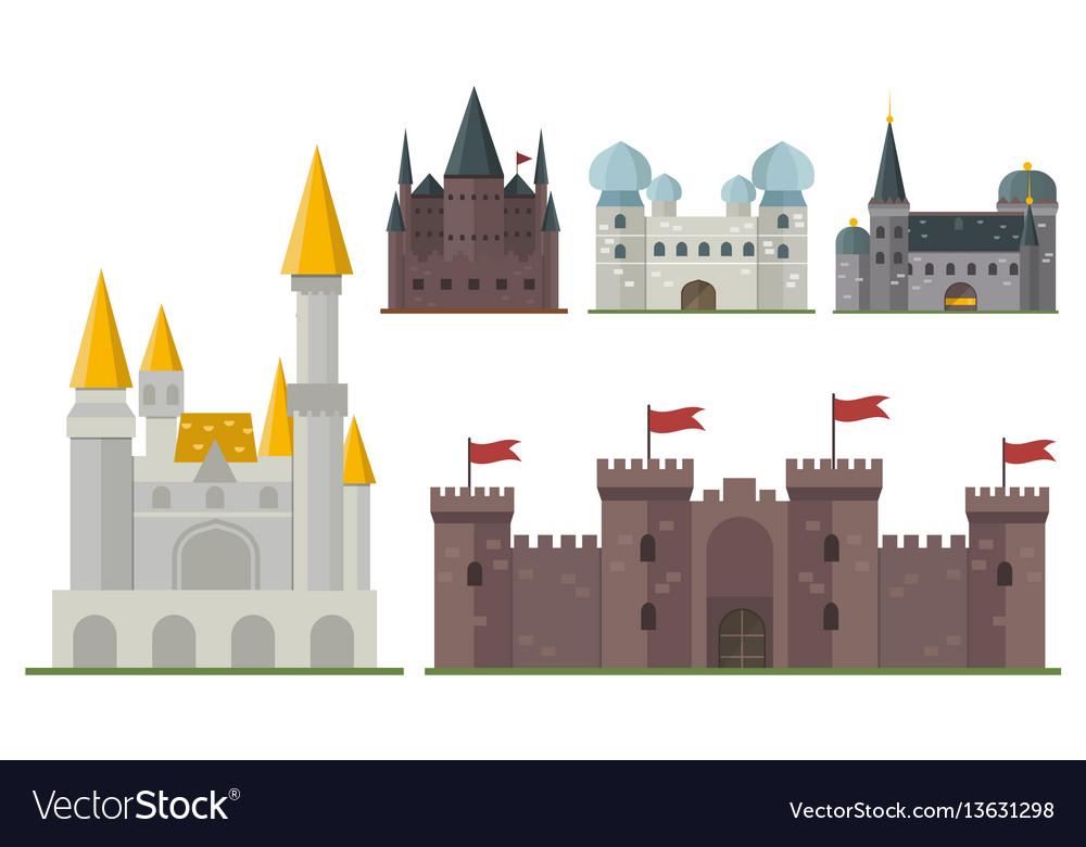 Cartoon fairy tale castle tower icon cute