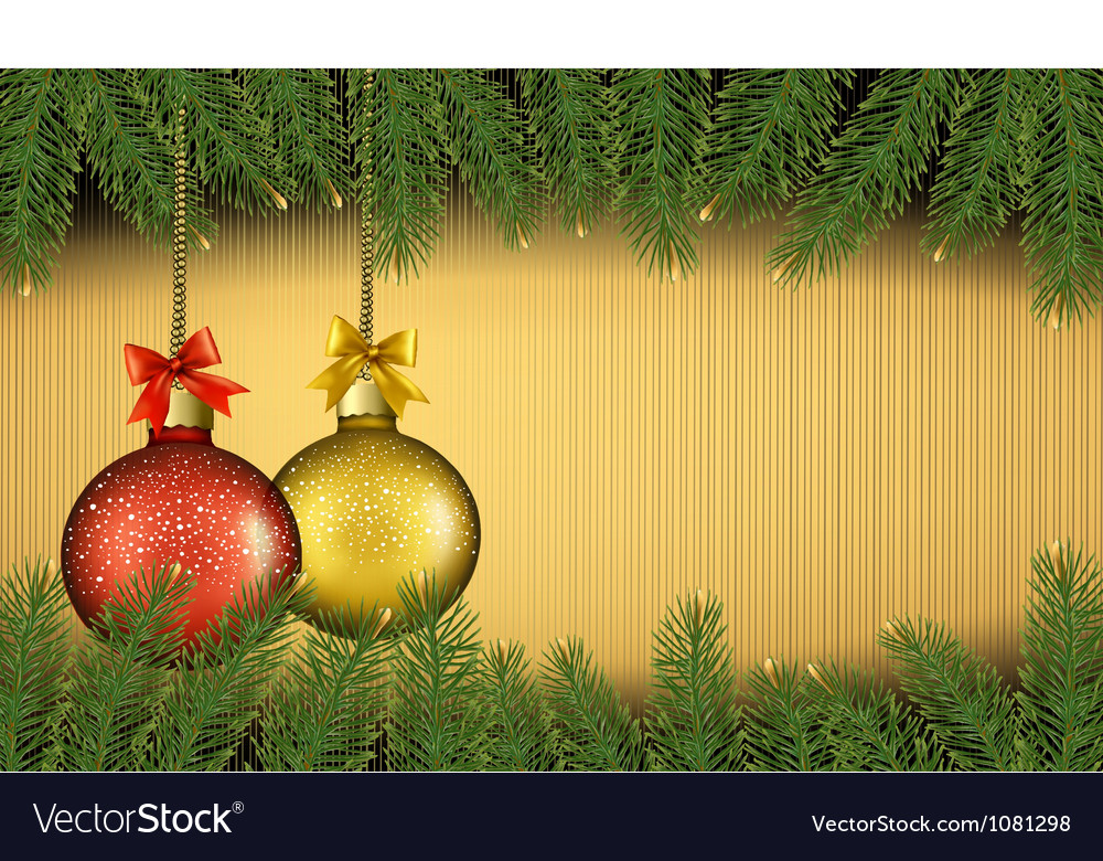 Christmas background with gift balls and fir