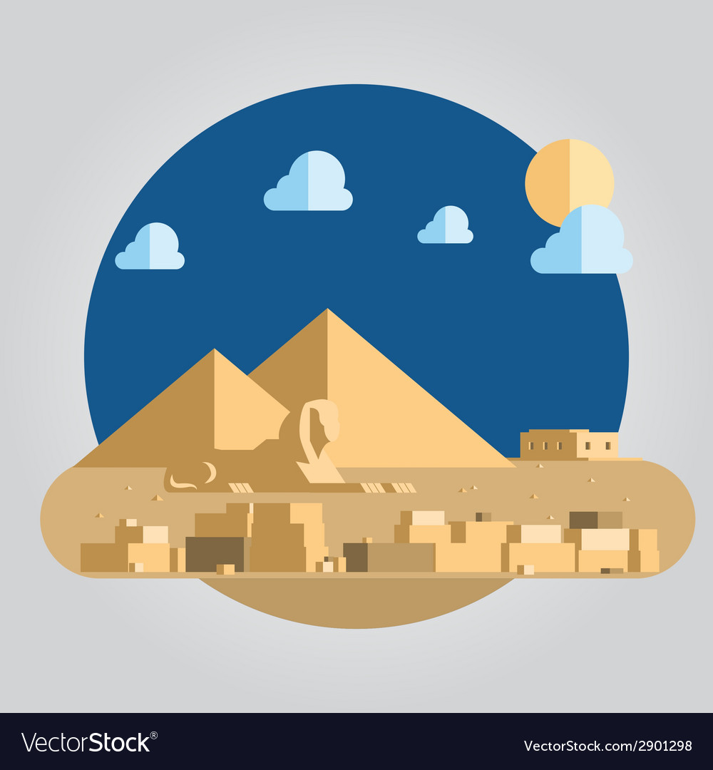 Flat design pyramid and sphinx in Egypt