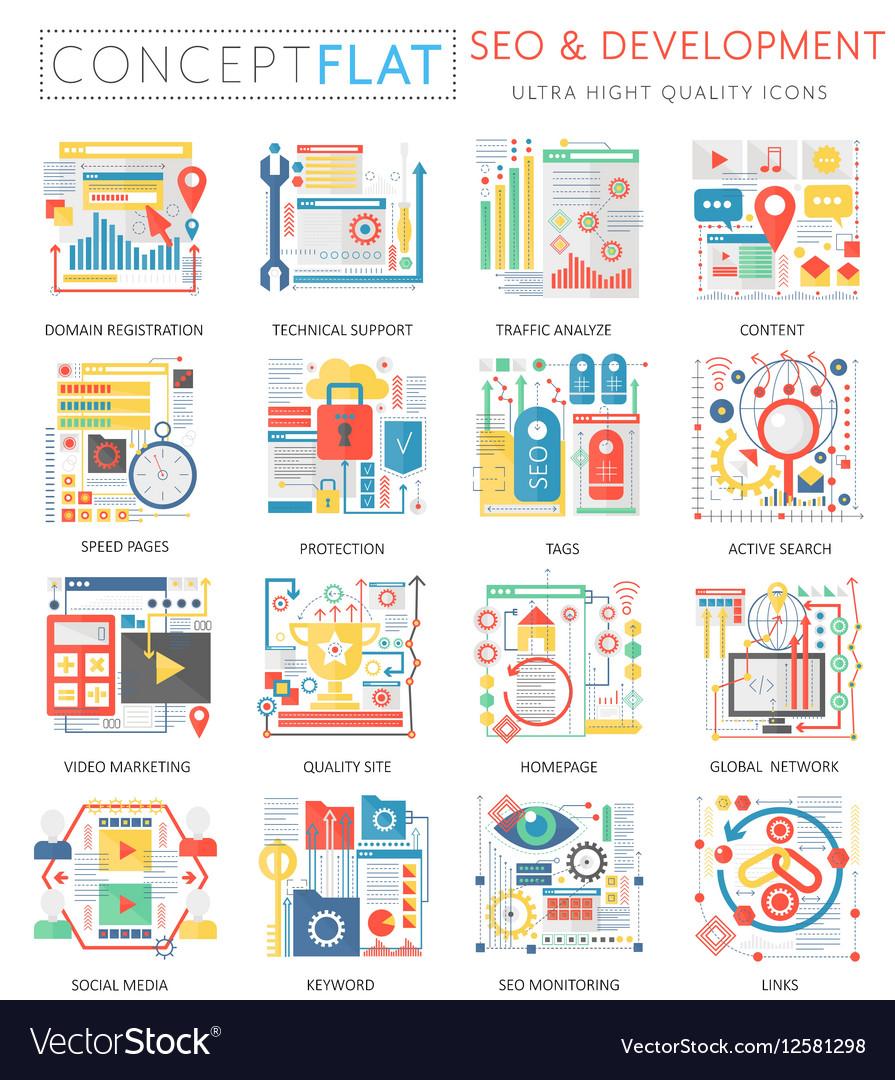 Infographics mini concept SEO and development