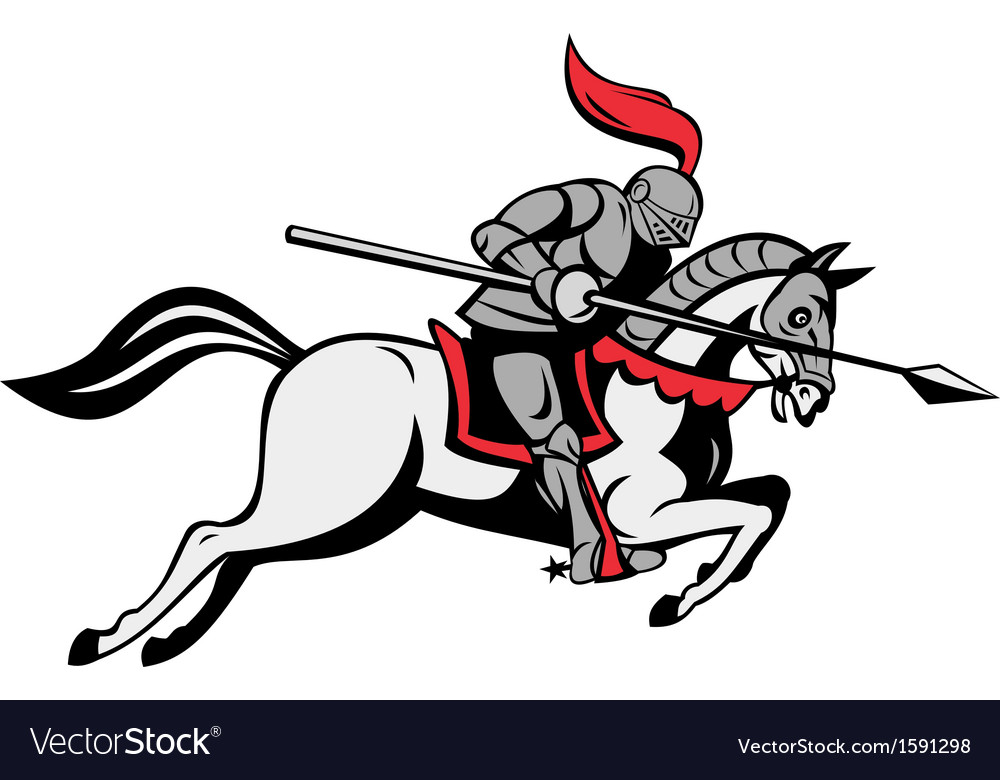 Knight with lance riding horse vector image