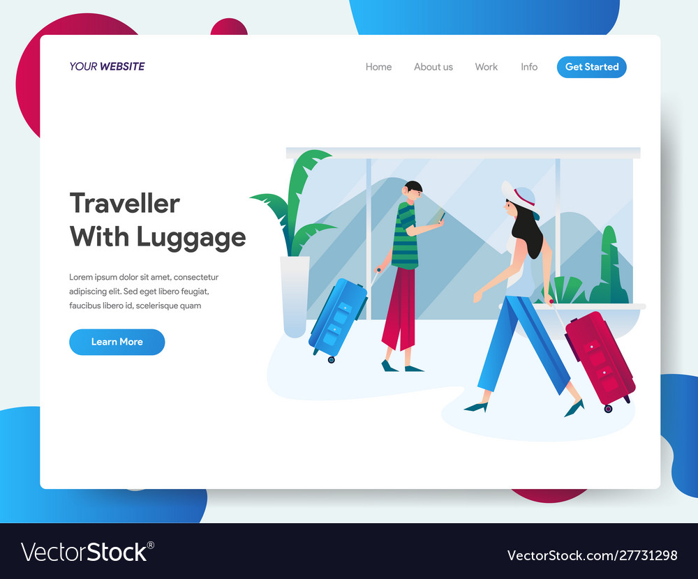 Landing page template traveller with luggage