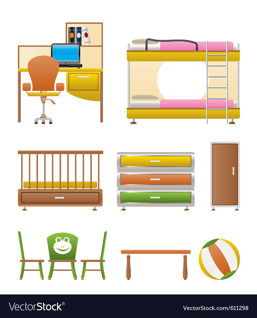 Nursery and children furniture vector image