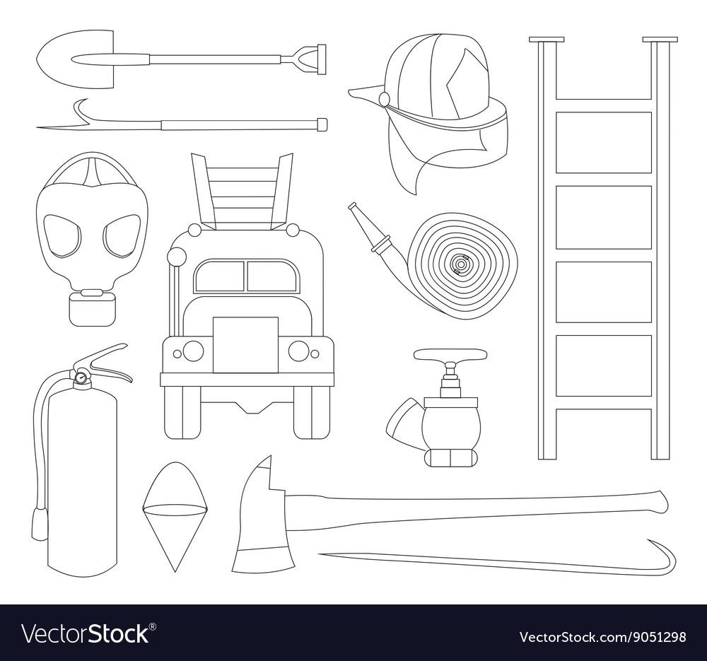 Set icons of firefighting equipment