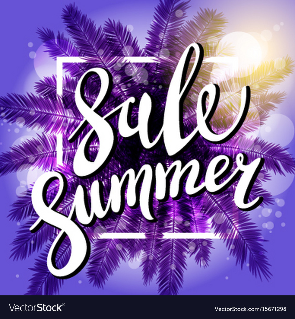 Sunset on the beach summer sale violet background vector image
