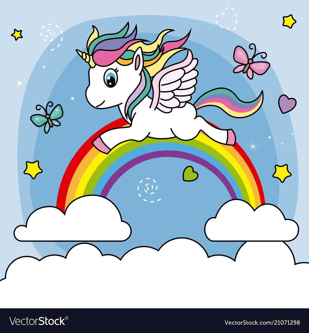 Unicorn Flying Over The Rainbow Vector Image
