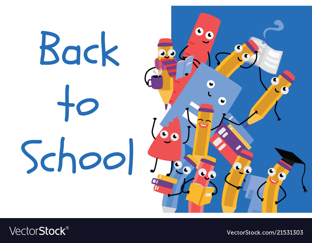 Back to school poster with pencil character