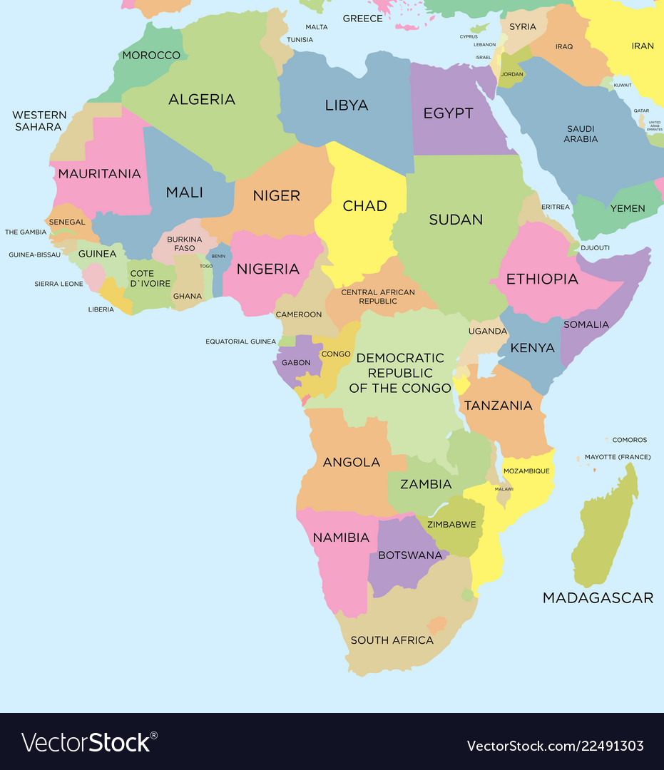 Coloured Political Map Of Africa Royalty Free Vector Image