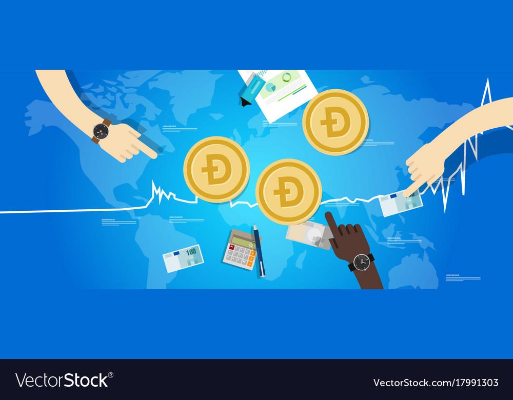 Doge coin increase exchange value digital virtual vector image