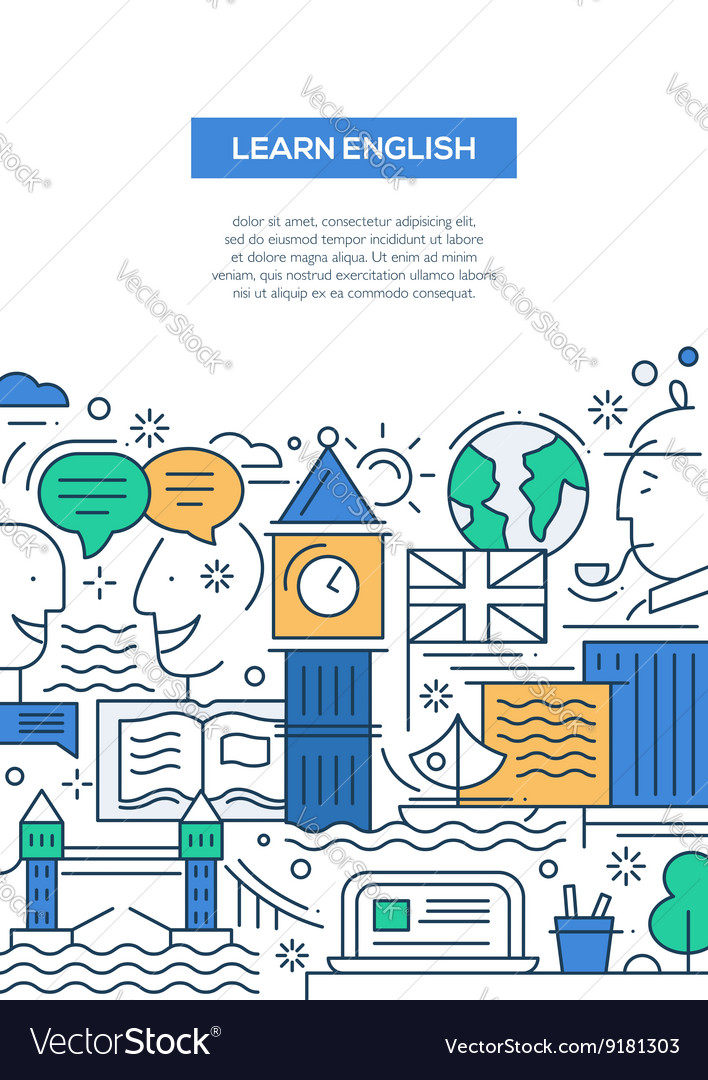 Education composition - line flat design banner vector image